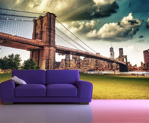 peel and stick photo wall mural decor wallpapers bridge new york 103