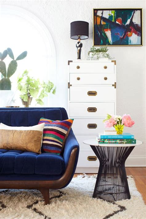 Emily Hendersons Living Room by Emily Henderson Living Room Platner Table Blue Sofa