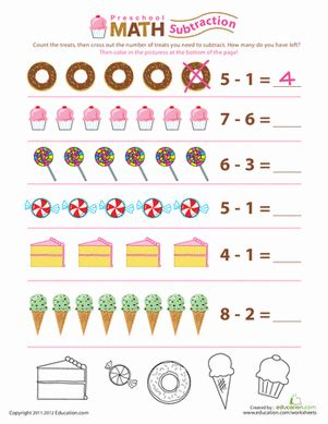 preschool subtraction take away the worksheet education com