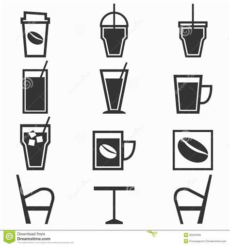 El café bebe iconos en cafetería en el backgr blanco