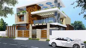 Top, Modern, Home, Front, Elevation