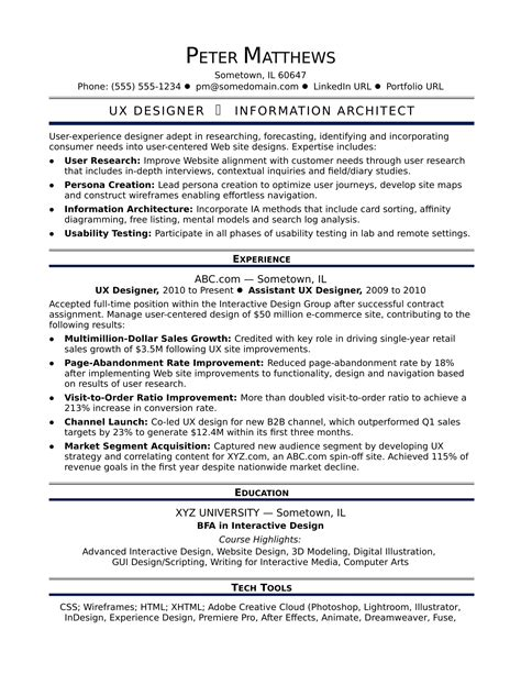 Ux Designers Resumes by Sle Resume For A Midlevel Ux Designer