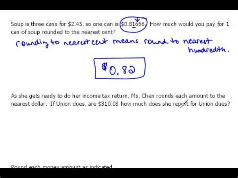 Practice Rounding Money 42 Youtube
