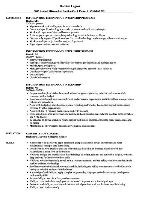 Information Technology Resume by Information Technology Internship Resume Sles Velvet
