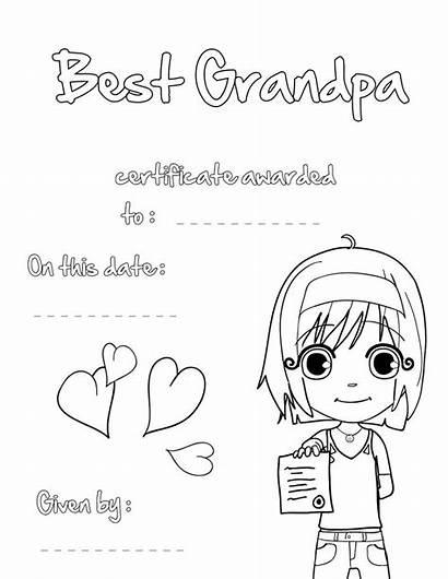 Coloring Grandpa Printable Pages Grandparents Certificate