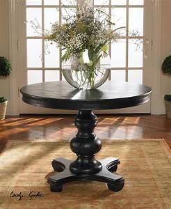 Elegant, Classic, Round, Black, Wood, Entry, Table