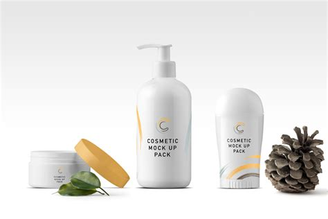 Clean and sharp packaging mockups i want to know more even 3$ for a single mockup! Cosmetics Items Mockup | Mockup World