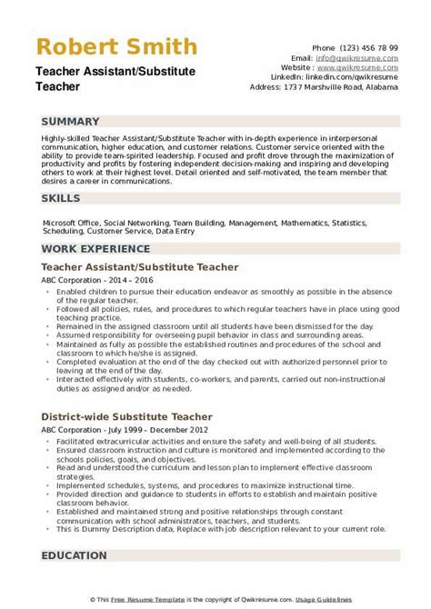 substitute teacher resume samples qwikresume