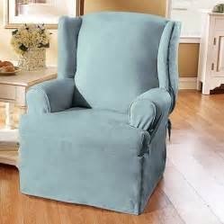 sure fit soft suede wing chair slipcover walmart com
