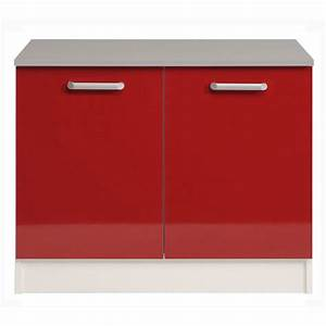 Meuble Bas Cuisine 120 Cm : meuble bas 2 portes 120 cm shiny rouge ~ Dode.kayakingforconservation.com Idées de Décoration