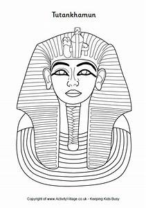 Tutankhamun colouring tutankhamun death mask colouring for King tut mask template