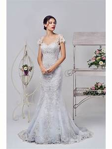 phoenix gowns 16327 silver lace bridal gown With silver lace wedding dress