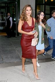 Jessica Alba Leather Dress Red