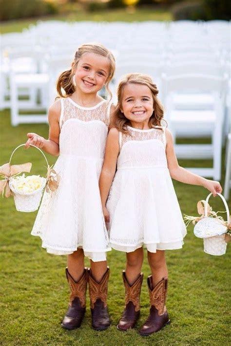 rustic wedding white flower girl dress lace flower baskets