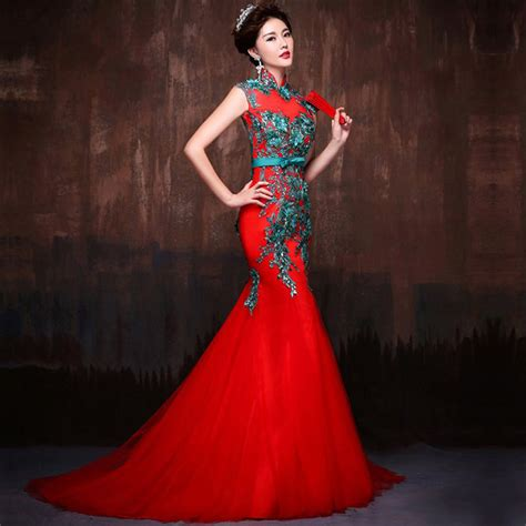 Red Mandarin Dress With Green Embroidery Pictures Photos and Images for Facebook Tumblr ...