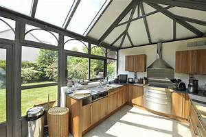 amenager une cuisine dans une veranda travauxcom With wonderful plan maison en u ouvert 9 cuisine avec verriare