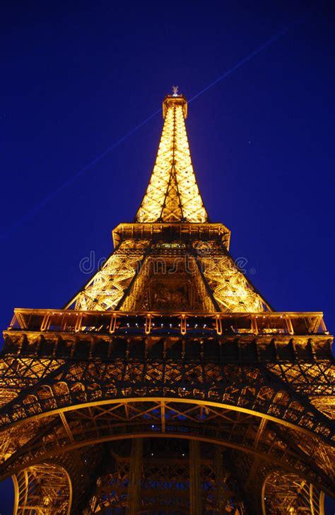 eifel tower  night editorial stock photo image