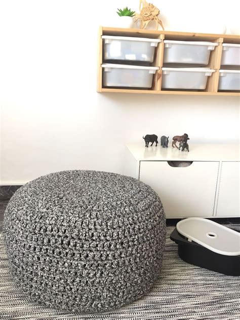 pouf geant tricot  marocain elements deco salon ou chambre enfant
