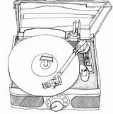 Record Player Drawing Drawings Vinyl Line Turntable Sketch Doodle Template Pen Cd Storage Dj Lp Illustration Records Tattoo Easy Ink sketch template