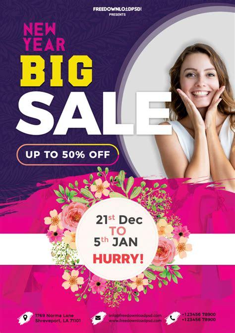 year sale flyer psd template freedownloadpsdcom