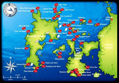komodo dive sites map indonesia diving scuba diving