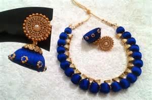 fancy earing blue designer silk thread neckset fashionous