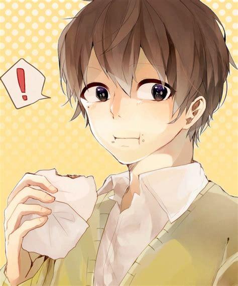 Cute Anime Boy Eating