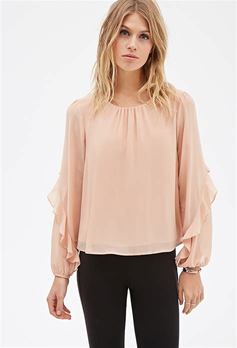 sleeve blouses for forever 21 contemporary ruffled sleeve layered blouse you