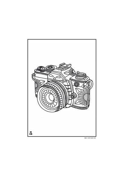 Coloring Pages Whimsical Camera Pattern Patterns Adults