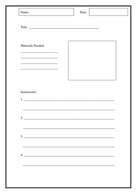 writing instructions template  sbrumby teaching resources
