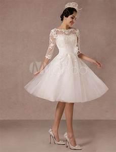 Kurz Hochzeitskleid 2019 Vintage Spitzenapplikation Lange