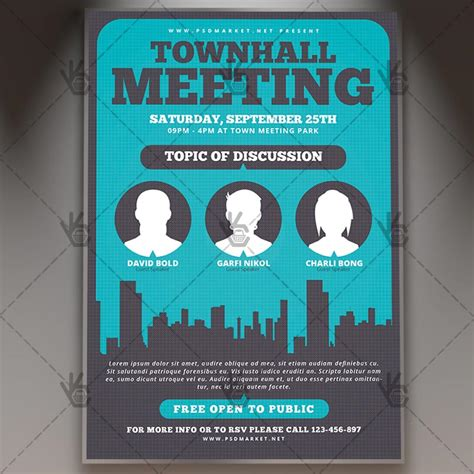 community meeting premium flyer psd template psdmarket