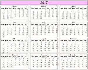 yearly 2017 printable calendar color weekday starts