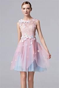Robe Bal De Promo Courte : robe de bal courte fleurie avec bloc rose bleu vintage ~ Nature-et-papiers.com Idées de Décoration