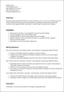 professional basketball resume exles professional associate athletic director templates to showcase your talent myperfectresume