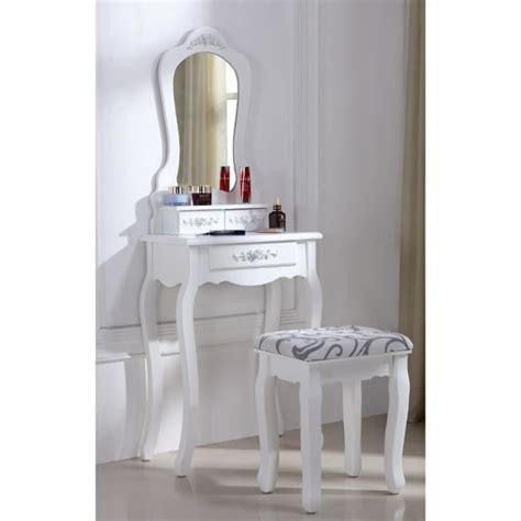 chambre bois et blanc coiffeuse blanche avec siège et miroir 53 achat vente