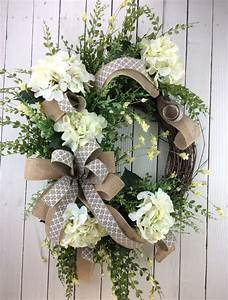 Front, Door, Wreath, White, Hydrangea, Wreath, Wedding, Wreath, Summer, Wreath, Summer, Door, Wreath