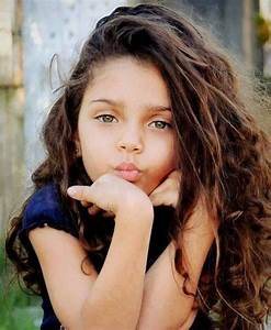 hair cute long Little girl curly green eyes mixed babies ...