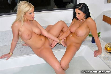 Hot Brunette And Blonde Lesbians Pushing To Xxx Dessert Picture