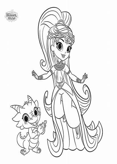 Shimmer Shine Colorear Dibujos Coloring Samira Princess