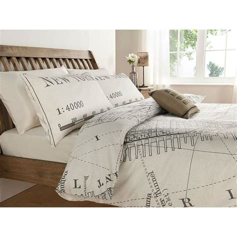 asda vintage new york city map print duvet set double