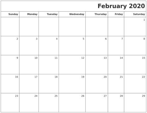 february printable blank calendar
