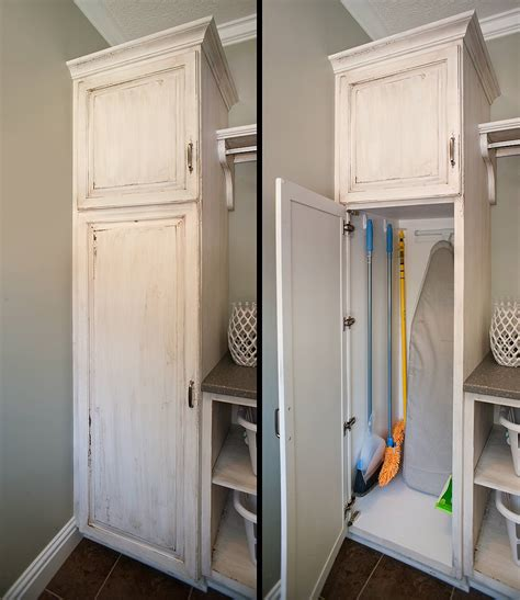 pantry with broom closets cabinets
