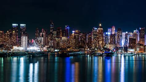 usa skyscrapers rivers  york city night cities