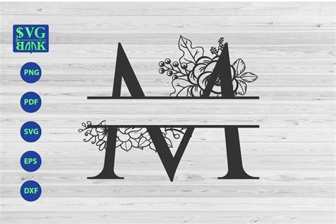split monogram letter  svg alphabet floral initial logo