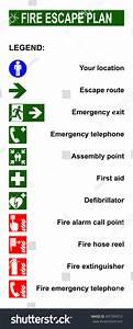 Set Symbols Fire Escape Evacuation Plans Stock Vector