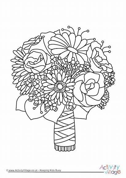 Colouring Bouquet Coloring Pages Flower Drawing Printable