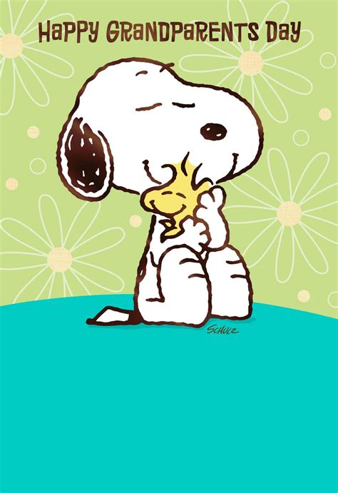 peanuts snoopy  woodstock hugs grandparents day card