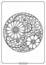 Coloring Border Flower Circle Printable sketch template