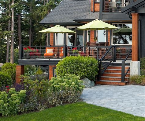 deck color schemes Porch Rustic with boulder cabin cable railing   beeyoutifullife.com